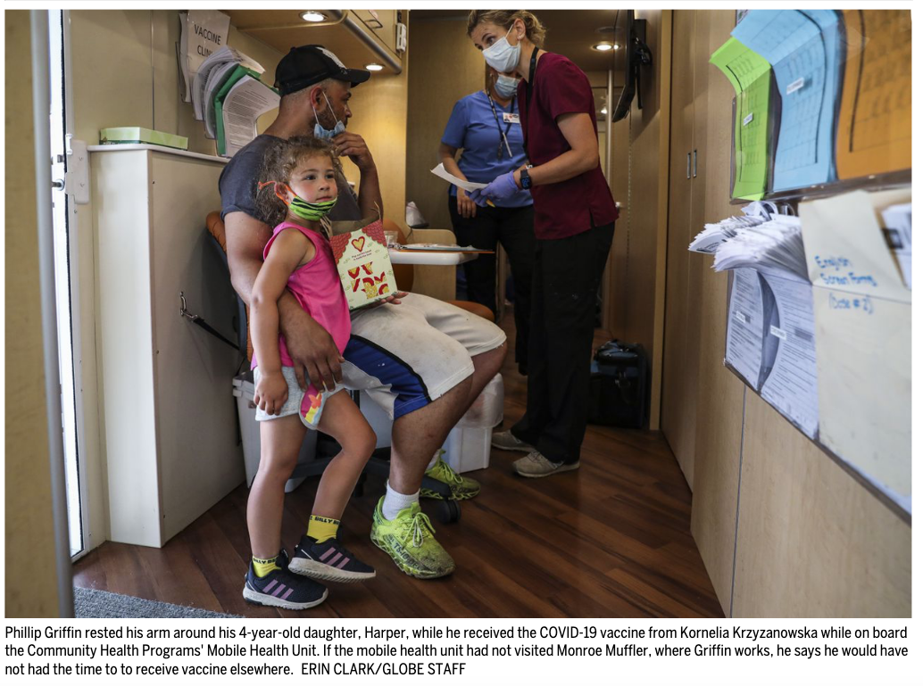 CHP Mobile Health Unit giving vaccines on board