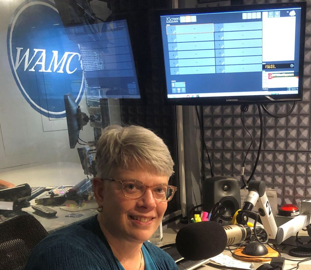 Dr. Fishbein at WAMC radio studio